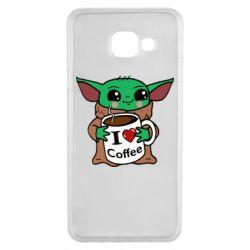 Чехол для Samsung A3 2016 Yoda and a mug with the inscription I love coffee