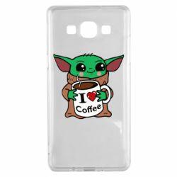 Чехол для Samsung A5 2015 Yoda and a mug with the inscription I love coffee