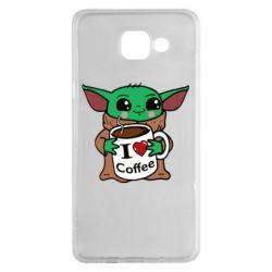 Чехол для Samsung A5 2016 Yoda and a mug with the inscription I love coffee