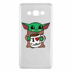 Чехол для Samsung A7 2015 Yoda and a mug with the inscription I love coffee