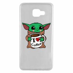 Чехол для Samsung A7 2016 Yoda and a mug with the inscription I love coffee