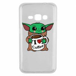 Чехол для Samsung J1 2016 Yoda and a mug with the inscription I love coffee