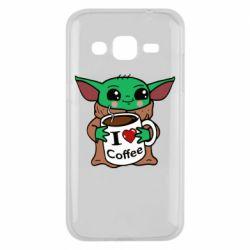 Чехол для Samsung J2 2015 Yoda and a mug with the inscription I love coffee