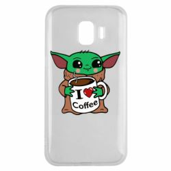 Чехол для Samsung J2 2018 Yoda and a mug with the inscription I love coffee