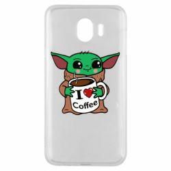 Чехол для Samsung J4 Yoda and a mug with the inscription I love coffee