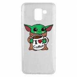 Чехол для Samsung J6 Yoda and a mug with the inscription I love coffee