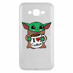 Чехол для Samsung J7 2015 Yoda and a mug with the inscription I love coffee
