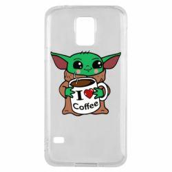 Чехол для Samsung S5 Yoda and a mug with the inscription I love coffee