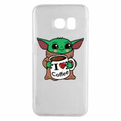 Чехол для Samsung S6 EDGE Yoda and a mug with the inscription I love coffee
