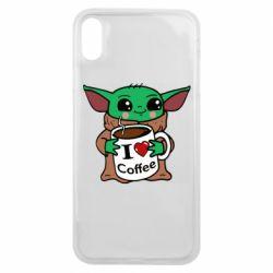 Чехол для iPhone Xs Max Yoda and a mug with the inscription I love coffee