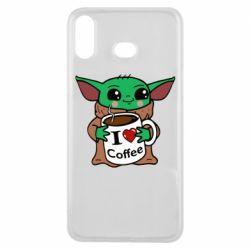 Чехол для Samsung A6s Yoda and a mug with the inscription I love coffee