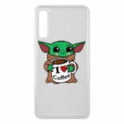 Чехол для Samsung A7 2018 Yoda and a mug with the inscription I love coffee