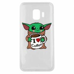 Чехол для Samsung J2 Core Yoda and a mug with the inscription I love coffee