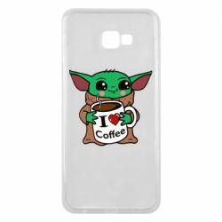 Чехол для Samsung J4 Plus 2018 Yoda and a mug with the inscription I love coffee