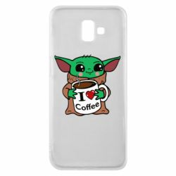 Чехол для Samsung J6 Plus 2018 Yoda and a mug with the inscription I love coffee