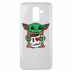 Чехол для Samsung J8 2018 Yoda and a mug with the inscription I love coffee