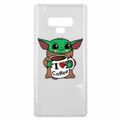 Чехол для Samsung Note 9 Yoda and a mug with the inscription I love coffee
