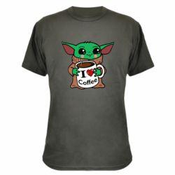 Камуфляжная футболка Yoda and a mug with the inscription I love coffee