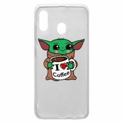 Чехол для Samsung A20 Yoda and a mug with the inscription I love coffee