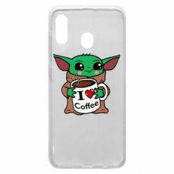 Чехол для Samsung A30 Yoda and a mug with the inscription I love coffee