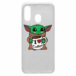 Чехол для Samsung A40 Yoda and a mug with the inscription I love coffee