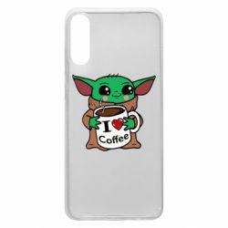 Чехол для Samsung A70 Yoda and a mug with the inscription I love coffee