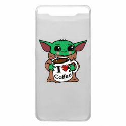 Чехол для Samsung A80 Yoda and a mug with the inscription I love coffee