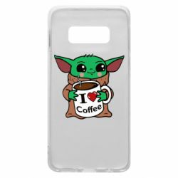 Чехол для Samsung S10e Yoda and a mug with the inscription I love coffee