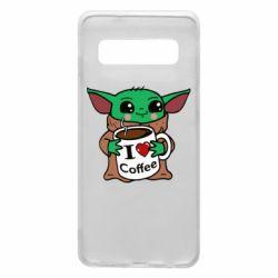 Чехол для Samsung S10 Yoda and a mug with the inscription I love coffee