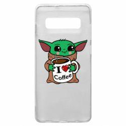 Чехол для Samsung S10+ Yoda and a mug with the inscription I love coffee