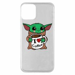 Чехол для iPhone 11 Yoda and a mug with the inscription I love coffee