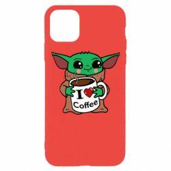 Чехол для iPhone 11 Pro Yoda and a mug with the inscription I love coffee
