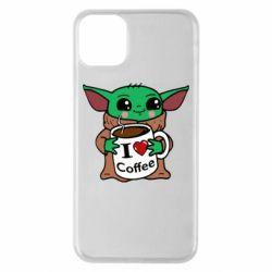 Чехол для iPhone 11 Pro Max Yoda and a mug with the inscription I love coffee