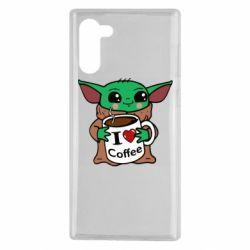Чехол для Samsung Note 10 Yoda and a mug with the inscription I love coffee