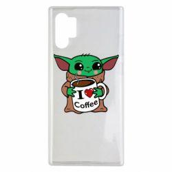 Чехол для Samsung Note 10 Plus Yoda and a mug with the inscription I love coffee