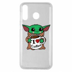 Чехол для Samsung M30 Yoda and a mug with the inscription I love coffee