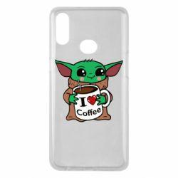 Чехол для Samsung A10s Yoda and a mug with the inscription I love coffee