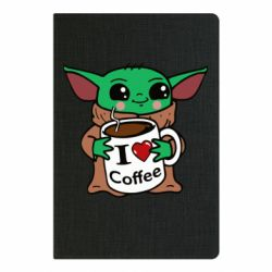 Блокнот А5 Yoda and a mug with the inscription I love coffee