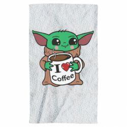Полотенце Yoda and a mug with the inscription I love coffee