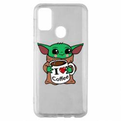 Чехол для Samsung M30s Yoda and a mug with the inscription I love coffee