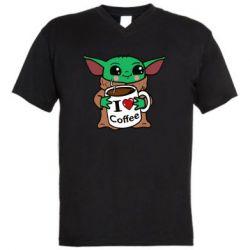 Мужская футболка  с V-образным вырезом Yoda and a mug with the inscription I love coffee