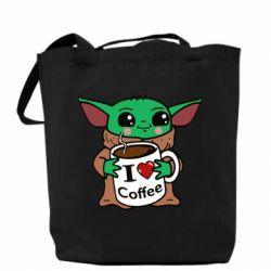 Сумка Yoda and a mug with the inscription I love coffee