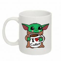 Кружка 320ml Yoda and a mug with the inscription I love coffee