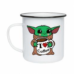 Кружка эмалированная Yoda and a mug with the inscription I love coffee