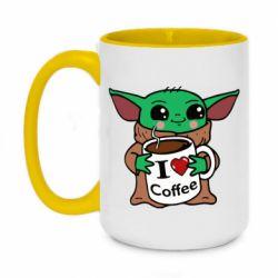 Кружка двухцветная 420ml Yoda and a mug with the inscription I love coffee