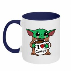 Кружка двухцветная 320ml Yoda and a mug with the inscription I love coffee