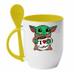 Кружка с керамической ложкой Yoda and a mug with the inscription I love coffee