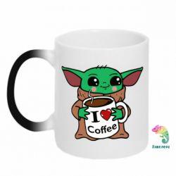 Кружка-хамелеон Yoda and a mug with the inscription I love coffee