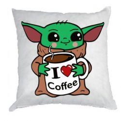 Подушка Yoda and a mug with the inscription I love coffee