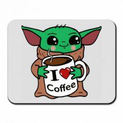 Коврик для мыши Yoda and a mug with the inscription I love coffee